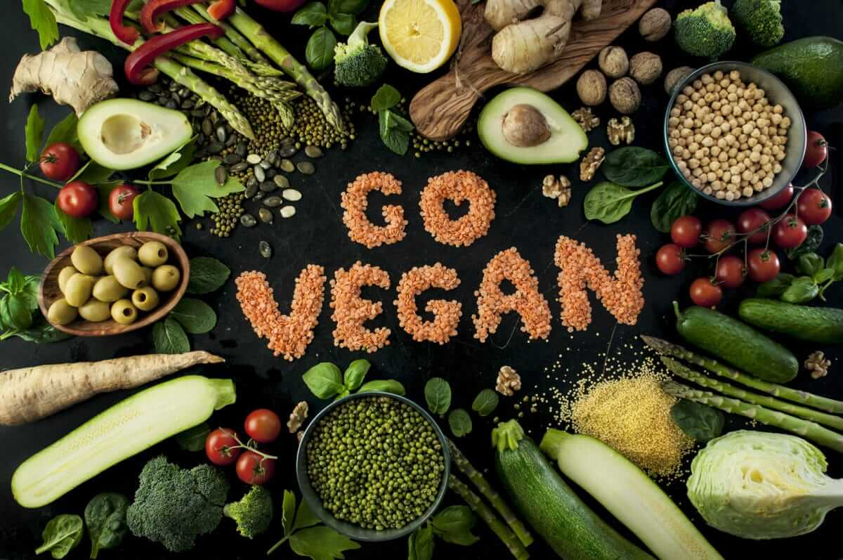 vegetable and go vegan written with beans