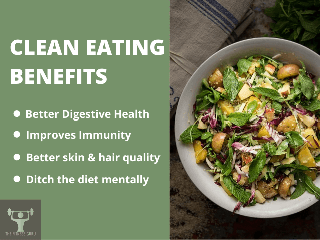 benefits of a clean diet with a bowl of vegetable and the fitness guru logo