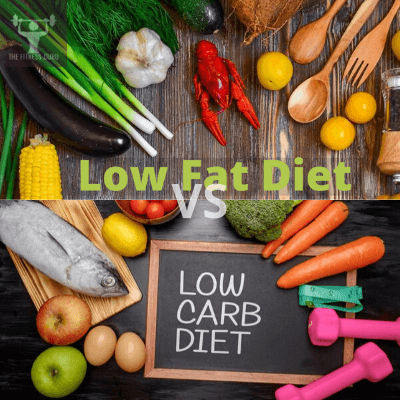 low-carb diet vs lo-fat diet in a picture with vegetables, fish, fruits and cutlery