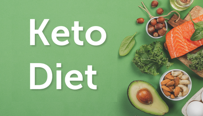 keto diet on a green background with vegetables