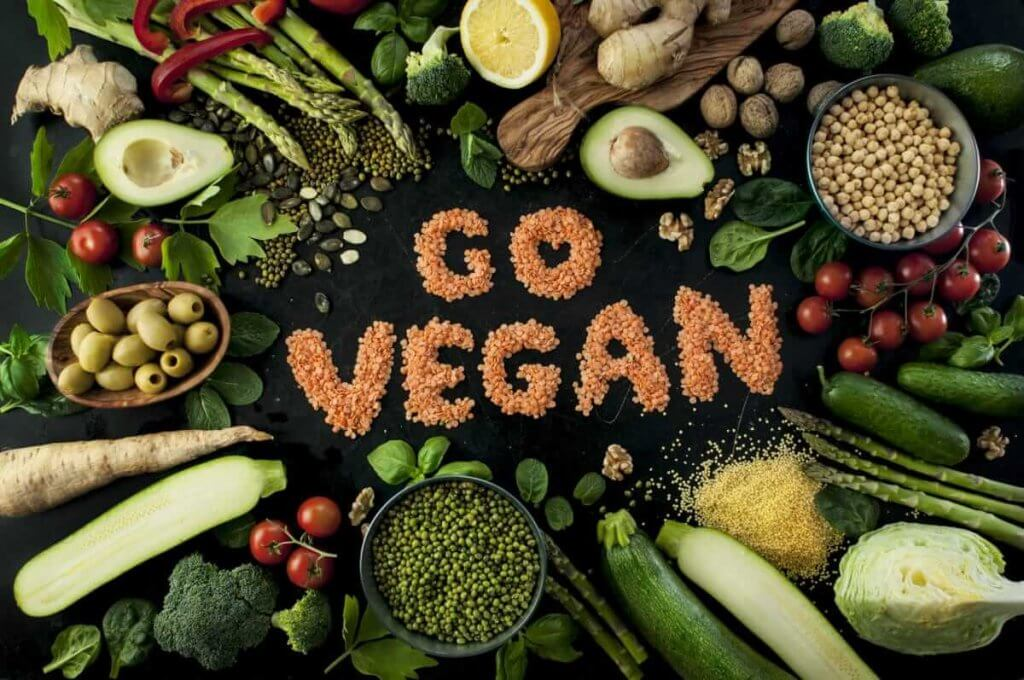 go vegan written on black background