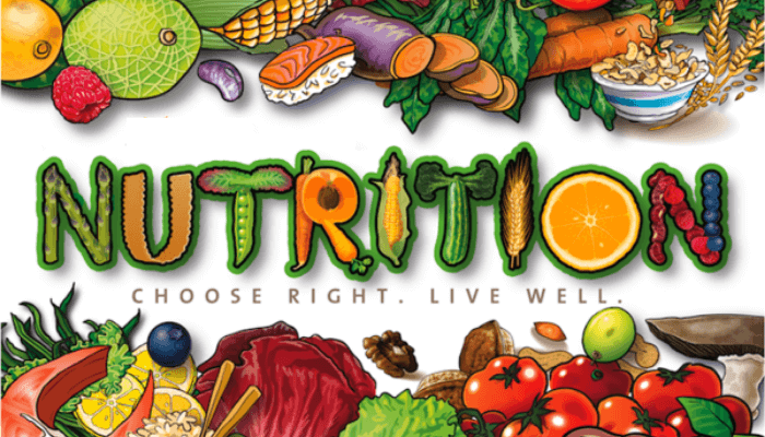 nutrition written on a white back with fruits and vegetables