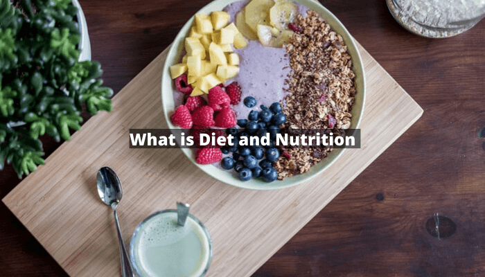 what is diet and nutrition on a fruit salad, glass of milk kept on brown table