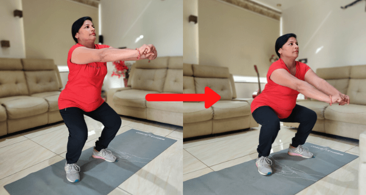 woman doing  squats, one of the best exercise to do at home while coronavirus outbreak